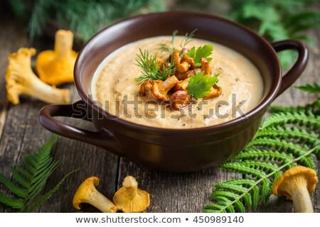 ストックフォト: スープ · キノコ · ベジタリアン · 緑 · ポット