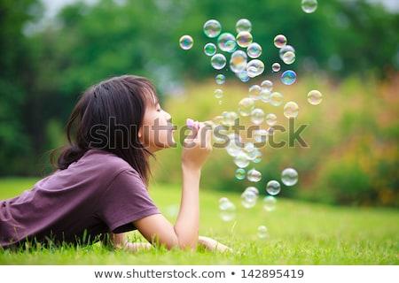 Bubble ballonnen veld licht achtergrond Stockfoto © alex_grichenko