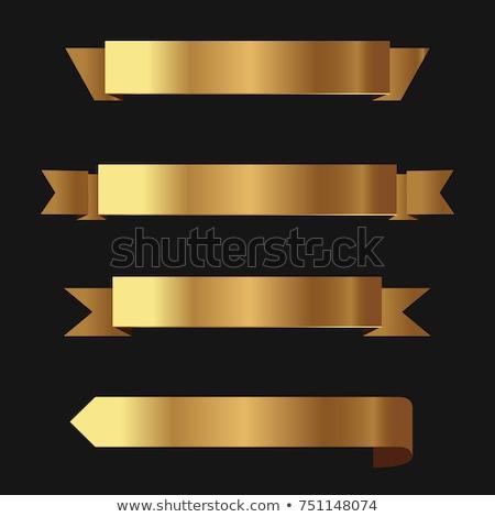 Stock fotó: Arany · bannerek · szett · izolált · fehér · zászló