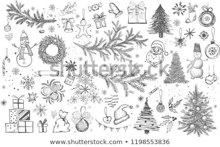 Foto d'archivio: Sketch · Natale · set · vintage · stile · vettore