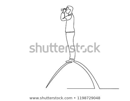 черный бинокль рынке диаграммы рецессия Сток-фото © devon