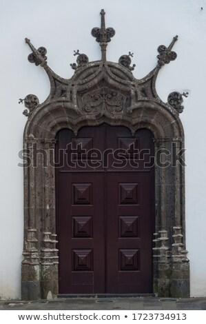 Díszes templom ajtó porta fa Stock fotó © smartin69