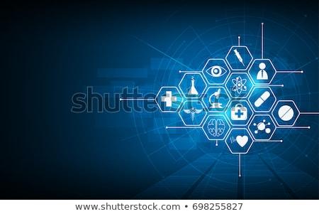 Egészségügy sztetoszkóp kéz égbolt orvosi kollázs Stock fotó © fantazista