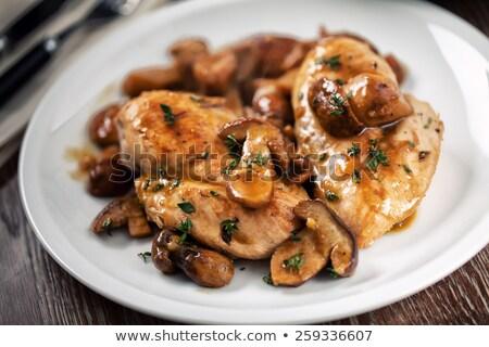 Gegrild champignon salade geroosterd brood vers Stockfoto © ozgur
