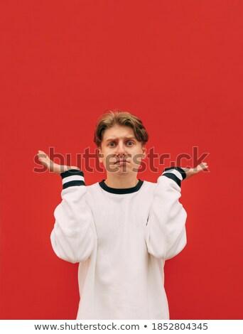 férfi · vállak · fiatal · jóképű · férfi · szemüveg · néz - stock fotó © ozgur