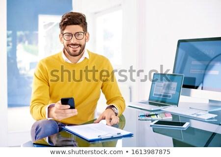 Stock fotó: Lezser · üzletember · küldés · szöveg · asztal · iroda