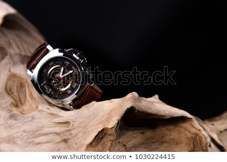 luxury watch black leather and gold stock photo © caimacanul