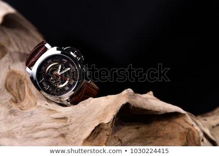 fekete · pánt · arany · óra · elöl · kilátás - stock fotó © caimacanul