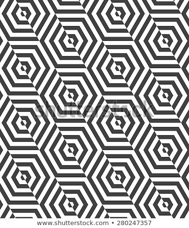 ストックフォト: 黒白 · カット · 幾何学的な · シームレス · モノクロ