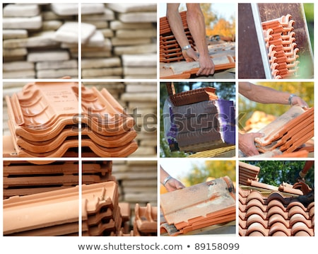 Stockfoto: Ladder At A Tiled Roof