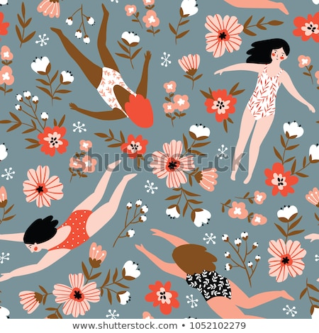 seamless pattern colorful female swimsuits stock photo © smeagorl