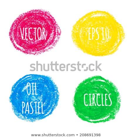 Crayon circle set. Colorful oil pastel. Stock photo © gladiolus
