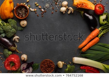 Fresche verde porro tavolo da cucina top view Foto d'archivio © stevanovicigor