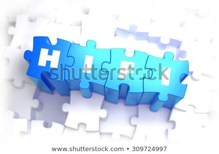 Merhaba beyaz kelime mavi yüksek 3d illustration Stok fotoğraf © tashatuvango