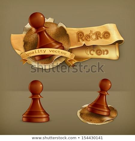 Kabát karok sakk gyalog papír földgömb Stock fotó © carodi