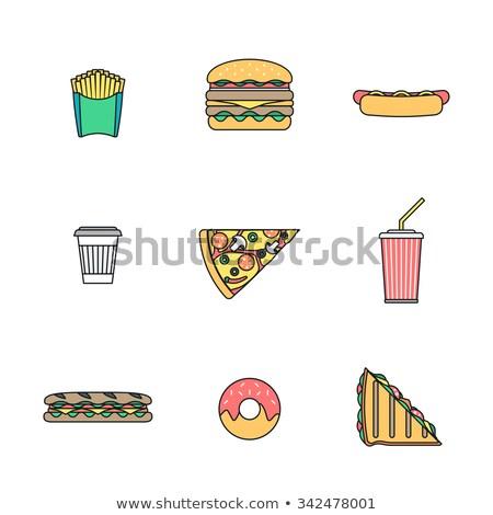 цвета быстрого питания трехслойный бутерброд икона иллюстрация вектора Сток-фото © TRIKONA