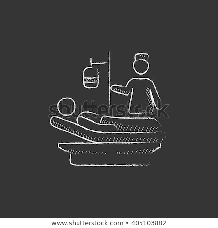 patient lying on the bed icon drawn in chalk stock photo © rastudio