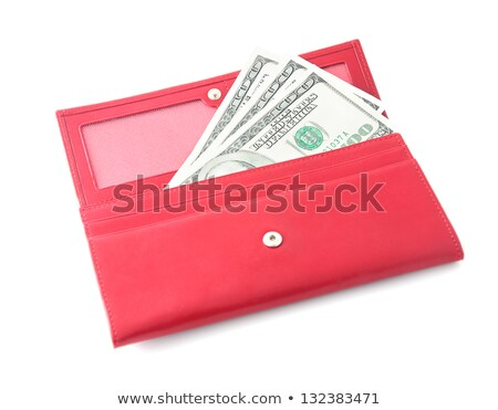 woman red purse wallet with money isolated on white stock photo © tetkoren