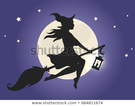 Beautiful witch woman flying on broomstick. Halloween night stock photo © orensila