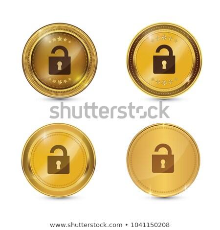 unlock circular gold vector web button icon stock photo © rizwanali3d