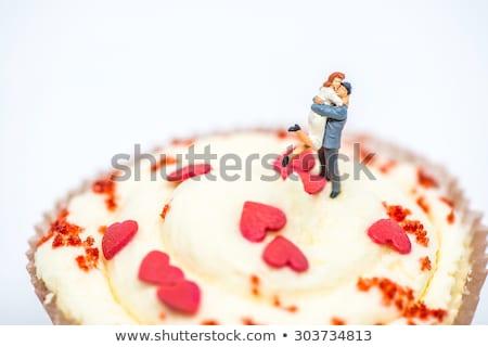 Miniatűr szerető pár felső minitorta makró Stock fotó © Kirill_M