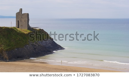 tourists in ballybunion beach and cliffs Stock photo © morrbyte
