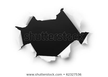 лист · бумаги · прямоугольный · дыра · черный · аннотация - Сток-фото © cherezoff