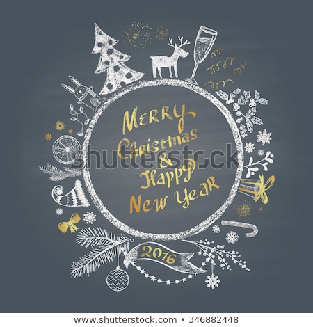 colored chalk painted illustration with christmas ball merry christmas happy new year text stock photo © rommeo79