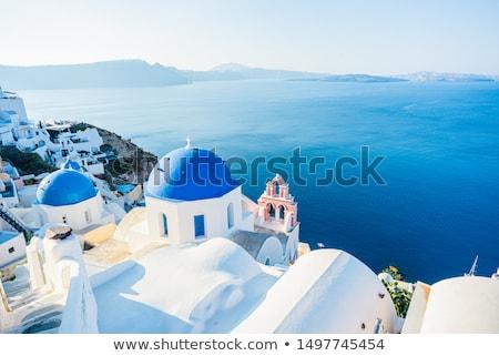Foto stock: Santorini · vulcão · navios · Grécia · retro · céu