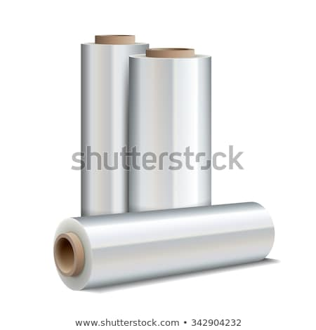 roll of white wrapping plastic stretch film stock photo © papa1266