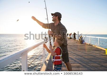 week-end · pêche · photo · grand-père · petit-fils · séance - photo stock © godfer