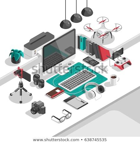 office equipment isometric set of vector icon stock photo © netkov1