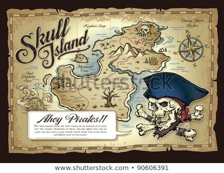 Foto stock: Mapa · tesouro · ilha · mapa · do · tesouro · antigo · velho · mapa