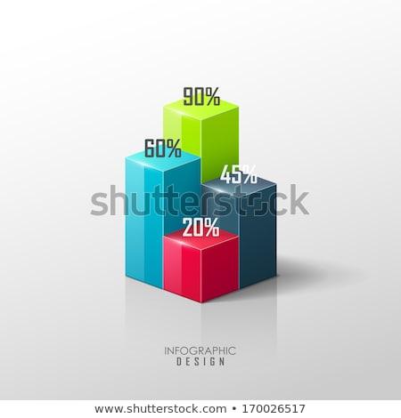 3D oszlopdiagram színes nyilak 3d illusztráció fehér Stock fotó © make