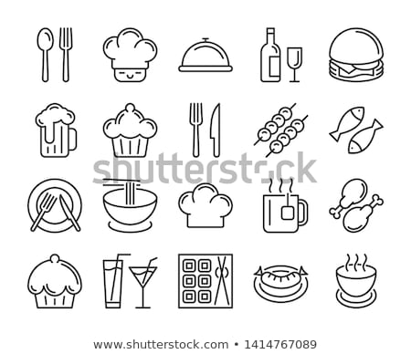ストックフォト: 食品 · ドリンク · ベクトル · 水色 · アイコン