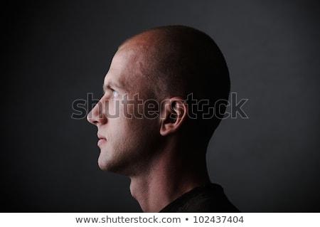 Profil fehér kopasz férfi huszas évek sötét Stock fotó © zurijeta