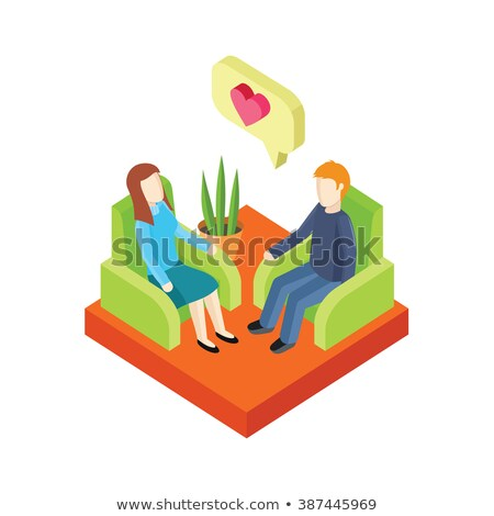 Stock photo: Couple Love in Armchair 3d Isometry