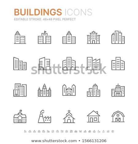 edifício · linha · ícone · teia · móvel · infográficos - foto stock © rastudio