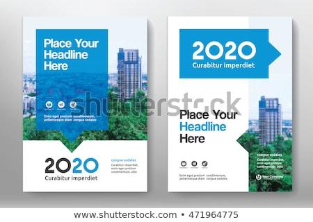 Blauw · dekken · verslag · brochure · flyer - stockfoto © ganpanjanee