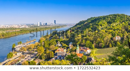 scenic panorama of vienna with the suburbs and view to vineyards stock photo © meinzahn
