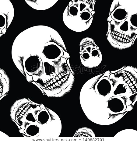 winged skull in black and white stock photo © hunterx