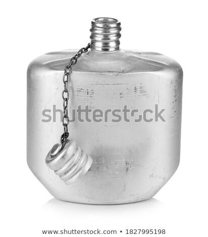 öreg alumínium flaska fehér izolált vágási körvonal Stock fotó © cosma