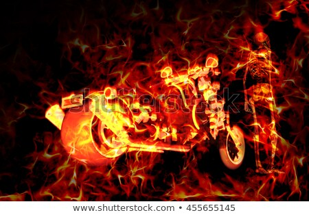Fiery burning motorbike and skeleton with flames around them Stock photo © ankarb