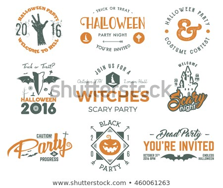 halloween 2016 party invitation label templates with holiday symbols   witch hat bat pumpkin ghos stock photo © khabarushka