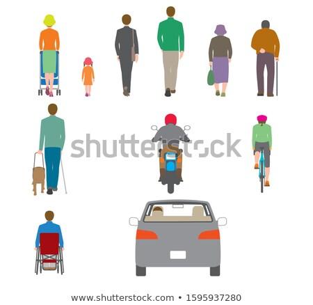 Achteraanzicht kinderwagen groene vector ontwerp illustratie Stockfoto © RAStudio