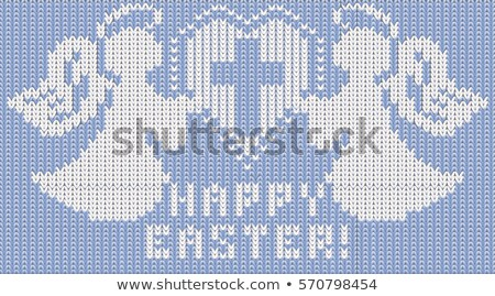 happy easter knitted banner with two angels vector illustration stock photo © carodi