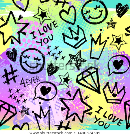 Stock photo: Patch seamless pattern with heart