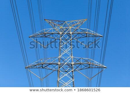 electric pylon on  field under blue sky Stock photo © meinzahn