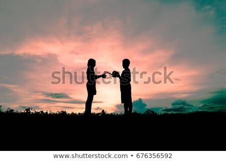 Erkek dünya kız konuşma çocuk Stok fotoğraf © przemekklos