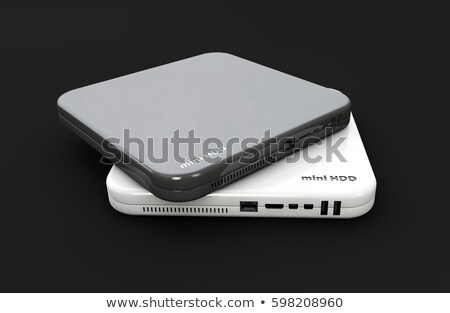 Hdd, mini hard disk drive, components, 3d Illustration, isolated black Stock photo © tussik